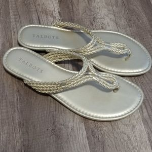 Talbots gold metallic braided flat sandal, size 8